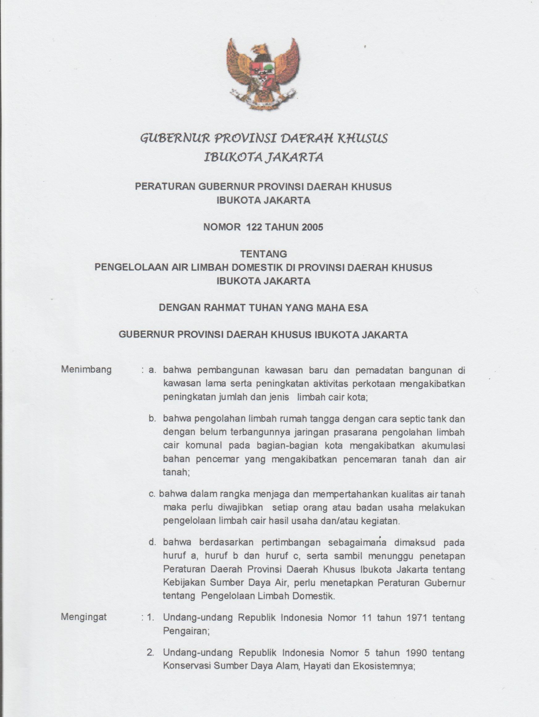 Peraturan Gubernur DKI Jakarta, Penggunaan Septic Tank